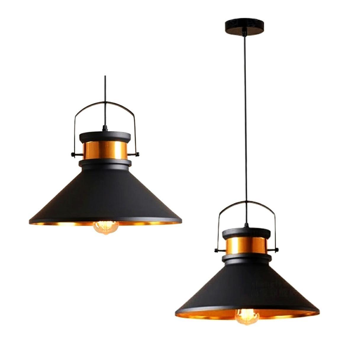LED21 Závěsné stropní svítidlo RETRO LOFT s kovovým stínidlem 360mm, patice 1xE27, černé ZD74H